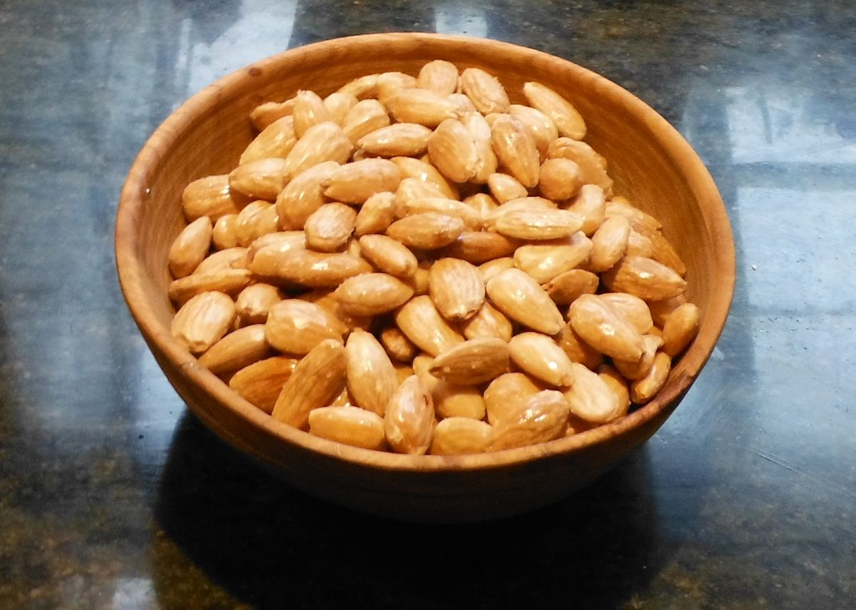 almonds In a rustic bowl